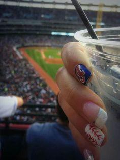 Braves fan but these are cute Baseball Nail Art, Softball Nails, Makeup Tips, Hair Makeup, Baseball Season, Cute Nails, Girly Things, Class Ring, Nail Designs