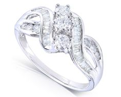Round and Baguette Diamond Engagement Ring 1 Carat (ctw) in 14k White Gold