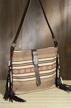 Red River Blanket Cotton and Leather Tote