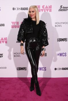 Gwen Stefani Studded Boots - Gwen Stefani finished off her ultra-edgy look with a pair of studded black boots.