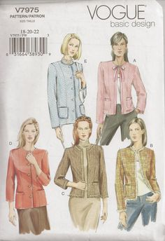 Vogue 7975, Sewing Pattern, Misses' Jacket, Size 18, 20, 22, Plus Size,  Out Of Print by OhSewWorthIt on Etsy
