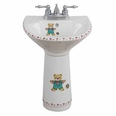 Childrens Bathroom, Pedestal Sink, White Bathroom, Cute Kids, Cleaning, Tableware, Glass, Bear, Shop