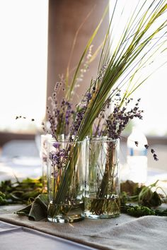 diy wedding flowers. lavender and sea grass.