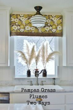Big Fluff Arrangement: Pampas grass in an arrangement and a door hanging. This showy plant makes big impact in home decorating. And it's free! www.huntandhost.com