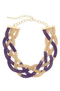obbsesseddd with this Purple Haze, Shades Of Purple, Purple Gold, Purple Statement Necklace, Ecu Pirates, Flight Patterns, Purple Jewelry, Crochet Accessories, Lsu