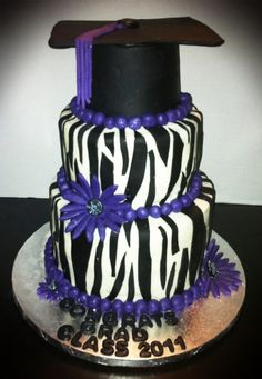 Graduation Cake- minus zebra stripes and purple
