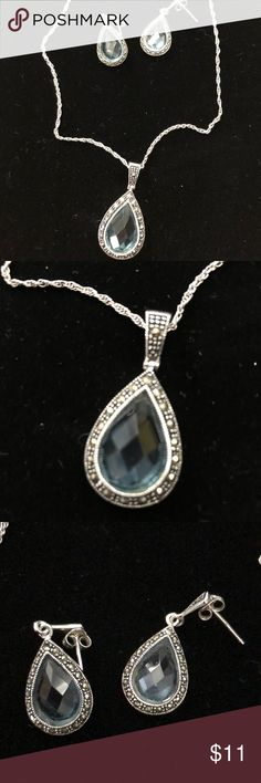 Fashion set! Full marcasite pendant and earrings with clear blue crystal. Extremely beautiful on. Comes with a 925 rock necklace. Jewelry Necklaces