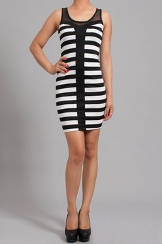 Joker: black and white striped bodycon dress  Find this at Dress World: one of the web's top online shop for trendy clubbin styles, fashionable party dress and bar wear, super hot clubbing clothing, partying clothes, super cute and sexy club fashions. MADE IN USA