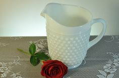 Vintage White Milk Glass Hobnail Pitcher Wonderful by ClassicCabin, $28.98 - great for wedding arrangements or centerpiece