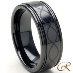 Black Ceramic Carbide Ring Mens Infinity Wedding Band Http Www Iwedplanner
