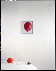 "John Chervinsky  Baloon, Rock on Table with Painting, 2011  Archival Inkjet Print  30x24"" Image  Edition of 15   http://www.photoeye.com/johnchervinsky"