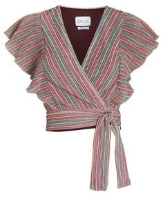 Crop Top Outfits, Cute Casual Outfits, Myanmar Dress Design, Tie Waist Top, Cool Kids Clothes, Mode Top, Long Skirts For Women, Striped Fabrics, Blouse Designs