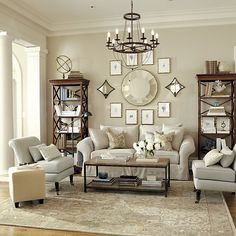 Catherine Rug | Ballard Designs (Ideas for decor. Look the wall design behind the couch.)
