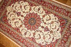 手織りシルク100%ペルシャ絨毯クム45520