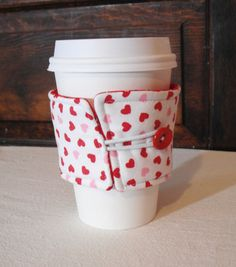 Reversible Coffee Cup Cozy Red and Pink Hearts