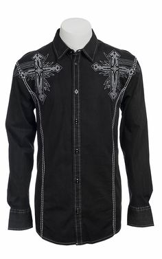 Roar® Men's Black Captivate Embroidered Long Sleeve Western Shirt | Cavender's