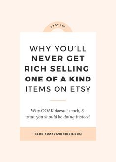 Today were going to chat about selling one of a kind items on Etsy. And why its actually killing your business. Learn what to do instead! Craft Business, Creative Business, Business Planning, Business Tips, Online Business, Legal Business, Affiliate Marketing, Starting An Etsy Business, Etsy Seo