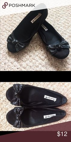 Black ballet flats Black flats with glitter bows. Shoes Flats & Loafers