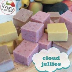 Delicious, nutritious and oh so kidfriendly! Cloud Jellies- a guest post by nutritionist Juliette Francois. Awesome yummy treat with no nasties! Gelatin Recipes, Jelly Recipes, Baby Food Recipes, Sweet Recipes, Snack Recipes, Dessert Recipes, Cooking Recipes, Detox Recipes, Candy Recipes