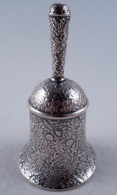 Tiffany & Co sterling silver repoussé table bell, with grape and floral motifs - New York, c1879 (whitewhaleltd)