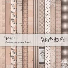 """Scraphouse: papeles para scrapbooking colección """"1921"""": diseñada por Marisa Bernal. Editada por ScrapHouse en 2011.  https://es.pinterest.com/naltin/coleccion-de-papeles-1921/"""