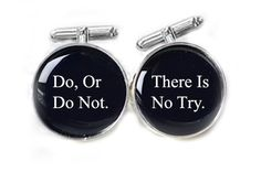 Men Star War Cufflinks Do, Or Do Not. There Is No Try Personalized gift guy cuff links. $30.00, via Etsy.