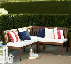 It's one cozy little corner with these red, white and blue pillows atop the Chatham Banquette.