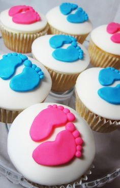 Gender reveal party cupcakes- precious little feet