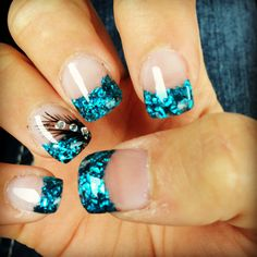 Colored Acrylic tips with a feather design
