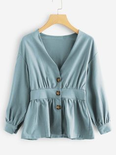 Women Casual Plain Shirt Regular Fit V Neck Long Sleeve Bishop Sleeve Placket Green Regular Length Single Breasted Ruffle Hem Blouse Fashion News, Fashion Outfits, Stylish Outfits, Fashion Women, Vetement Fashion, Plain Shirts, Fall Shirts, Bishop Sleeve, Blouse Online