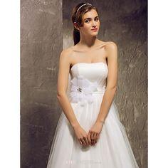 A-line Plus Sizes Wedding Dress - Ivory Floor-length Strapless Tulle Wedding Dresses Wedding Dresses Under 100, Cheap Wedding Dress, Plus Size Wedding, Tulle Wedding, Dresses Uk, Buy Dress, Bridal Gowns, Strapless Dress, Ivory