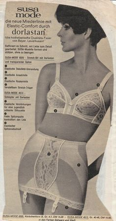 Susa fashion, the new line corset lingerie with elastic Comfort by Dorlestan. Ingenious cut, worked with attention to detail. Susa models forms and support without cramp. Classic Lingerie, Vintage Lingerie, Vintage Girdle, Under The Skirt, Bullet Bra, Susa, Vintage Advertisements, Female Bodies, Retro