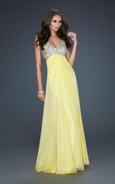 Sequin Top Yellow V Neck Open Back Prom Dress Long