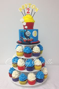 Thomas the Train cake Cupcake Tower Cake - could do these colours for superhero party & change top cake Thomas Birthday Parties, Thomas The Train Birthday Party, Trains Birthday Party, Train Party, Birthday Party Themes, 2nd Birthday, Birthday Ideas, Train Cupcakes, Train Birthday Cupcakes