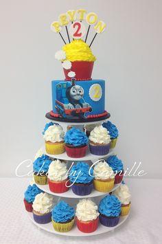 Thomas the Train cake Cupcake Tower Cake