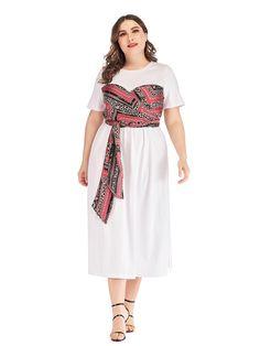 MissFox Plus Size Dresses - Women's Plus Size Desi Clothing      Plus Size Dress O Neck Short Sleeve Patchwork Side Split Simple Midi Dress      $53.98 #plussizedress #mididress #plussizemididress #psd #plussize #plussizedesi #plusdesi #desi Long Floral Maxi Dress, Lace Dress, Dresser, 1920s Dress, Patchwork Dress, Desi, Plus Size Dresses, Short, Plus Size Fashion