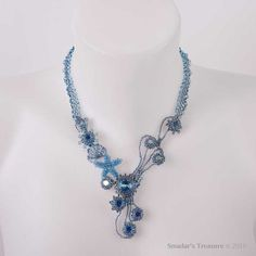ON SALE  Beaded Necklace in Blue Green with by SmadarsTreasure, $126.75