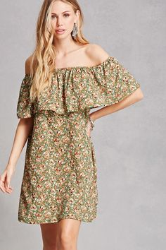 A crinkled woven mini dress featuring an allover ditsy floral print, elasticized off-the-shoulder flounce layer with short sleeves, dual on-seam pockets, and a swing silhouette.<p>- This is an independent brand and not a Forever 21 branded item.</p>