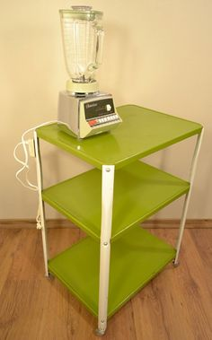 Green Kitchen Utility Cart Electrical Outlet Appliance Stand Bar Serving Cart…