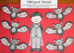 Vampire Verb Halloween Craftivity- Irregular verbs are like vampires- both can change forms and look quite different! $