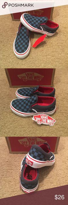 15965d6905 Checkerboard Classic Slip On Vans New in box. Blue Navy Vans Shoes Sneakers  Navy