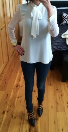 Style Me Moody - tied up and put together casual outfit - Zara necktie top, bebe skinny jeans and Privileged gold and black ankle boots