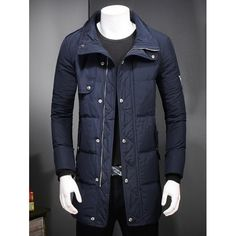 67.06$  Buy here - http://di5lo.justgood.pw/go.php?t=206811511 - Slim Fit Zipper Up Patch Quilted Coat 67.06$