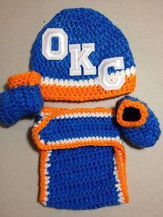 Oklahoma City Thunder Basketball Baby Beanie Hat Booties Diaper Cover Crochet SE | eBay