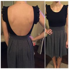 Never been worn! Black and grey open back dress; S Never been worn! Black and gray fit and flare open-back dress. Features black Ruffle trim around each arm opening. This dress is both classy and sexy (in all the right places)! I did not find any visible stains, snags or tears. Reasonable offers only please. No trades Dresses