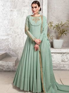 Outstanding mint green maslin cotton gown online which is crafted from maslin cotton fabric with exclusive hand work also comes with cotton crepe bottom, maslin cotton dupatta. Cotton Anarkali, Long Anarkali, Anarkali Gown, Anarkali Suits, Sharara Suit, Silk Dupatta, Designer Anarkali, Designer Gowns, Designer Wear