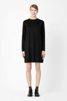 Wool dress with silk back