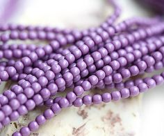 Czech pearl beads Full Strand  Purple  faux pearls by MayaHoney