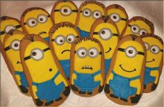 Minion cookies Minion Cookies, Cake Cookies, Sugar Cookies, Cupcakes, Despicable Me Party, Cookies For Kids, Sugar Rush, Creative Cakes, I Party