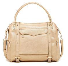 NWT $495 Rebecca Minkoff Cupid Full Size Satchel Gold Leather Handbag Carryall #RebeccaMinkoff #Satchel